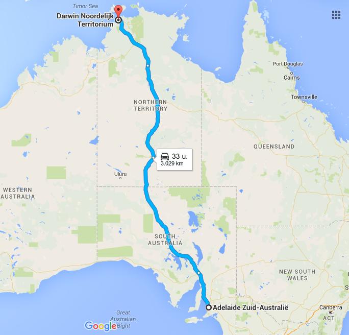 Google Maps Adelaide naar Darwin