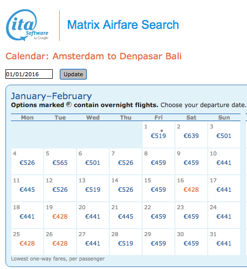 Vliegticket Amsterdam-Bali ITA