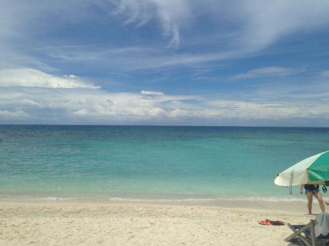 Het glasheldere water toen we het eiland opliepen