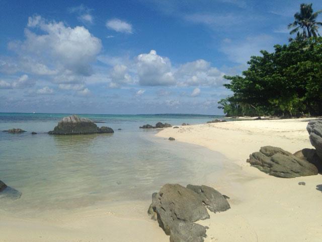 Tanjung Gelam vanaf het uiterste puntje gezien