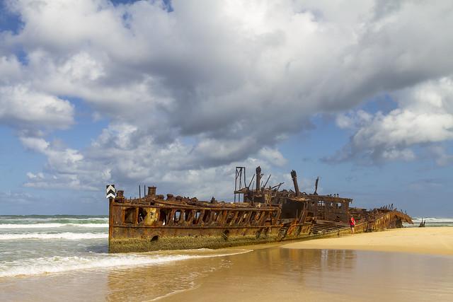 Het 'Maheno wreck', oftewel het Maheno scheepswrak. Een bezienswaardigheid op Fraser Island!